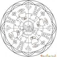 Mandala lapin et poussin de Pâques