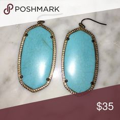 Kendra Scott turquoise Danielle earrings Kendra Scott turquoise Danielle earrings. The gold is slightly darkened, as reflected in the price. Re-posh, bought and then were given a pair as a gift. Kendra Scott Jewelry Earrings