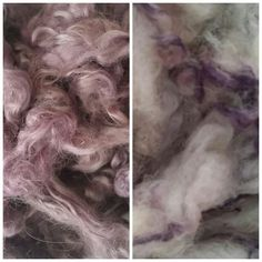 Mohair dyed with logwood extract and Jacob wool dyed with the remains of the logwood dyebath