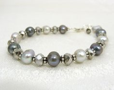 silver and grey pearl and sterling bracelet