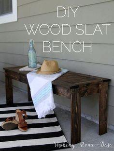 DIY Wood Slat Bench West Elm Knock Off-4