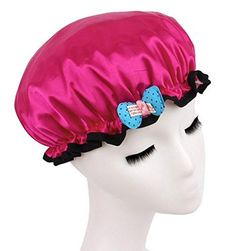 WANT:  Fashion Design Stylish Reusable Shower cap with Beautiful pattern and color FOR Child Hotpink