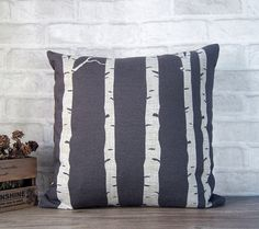 SALE -tree pillow made with cotton linen - decorative pillow case with tree - gray accent pillow - birch tree pillow case Grey Pillows, Linen Pillows, Accent Pillows, Throw Pillows, Birch Tree Decor, Living Room Shelves, Decorative Pillow Cases, Tree Designs, Frames On Wall
