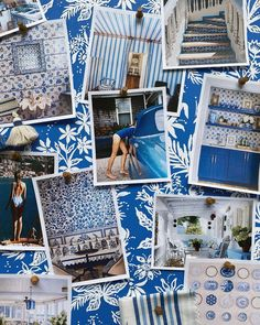 How to Create Beautiful Inspiration Boards - Katie Considers Office Color, Blue Colour Palette, Ticking Stripe, Photo Wall Collage, Inspiration Boards, Graphic Design Typography, Gallery Wall, Create, Wallpaper
