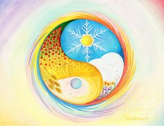 """Yin-Yang: A taijitu with a counter-rotating enso; the work is titled, """"Winter And Summer"""" by Gloria di Simone"""