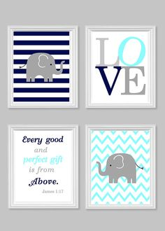 Nursery Art, Elephant Baby Room Decor, Aqua Gray Navy, Every Good and Perfect Gift Quote, Bible, Scripture, Love, Chevron, Stripes, Set of 4