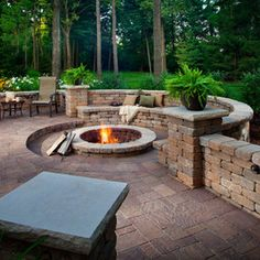 Built in seating around a fire pit - LOVE!