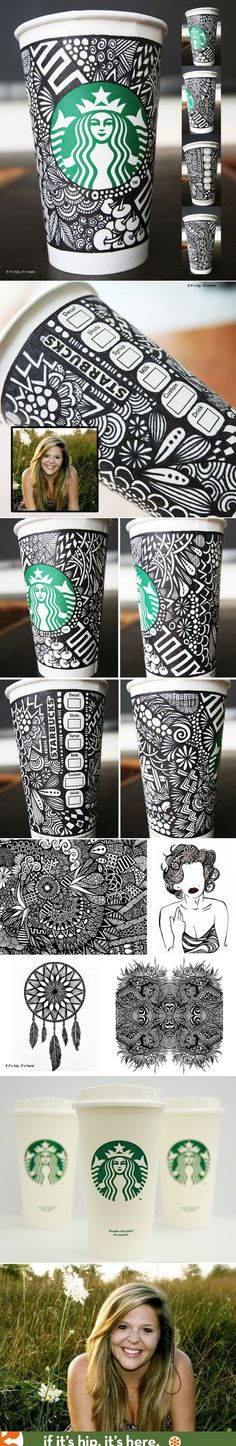Pretty cool Zentangle - Starbucks announces the winner of their White Cup Contest. The doodled cup by Brita Lynn Thompson will be available as a limited edition re-usable cup this coming fall. Tea Packaging, Brand Packaging, Packaging Design, Sharpie Art, Sharpies, Starbucks Cup Art, Coffee Cup Art, White Cups, Cup Design
