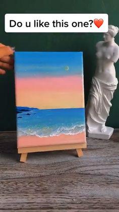 Canvas Painting Tutorials, Diy Painting, Sunset Acrylic Painting, Beach Sunset Painting, Acrylic Art, Painting Techniques, Simple Canvas Paintings, Beach Paintings, Amazing Paintings