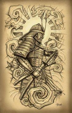 Attractive Samurai With Sword Tattoo Design For Men By Loren Fetterman