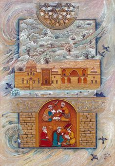 Minyatür, Mardin Kasımiye Medresesi Mughal Paintings, Exotic Art, Painted Rug, Leather Art, Islamic Calligraphy, Cartography, Illuminated Manuscript, Islamic Art, Traditional Art