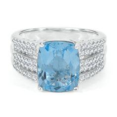 Cushion Cut Blue Topaz Ring available at #HelzbergDiamonds#pingagement and #helzbergdiamonds
