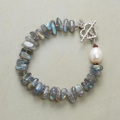 LABRADORITE LIGHTS BRACELET - Sundance - Labradorite nuggets envelop the wrist in flashes of blue-green hues. Handcrafted with cultured pearl, garnet rondelles and sterling silver toggle clasp.