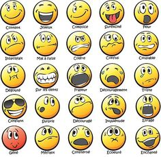 This Emotions chart can be printed small for student personal reference or poster size for classroom use! Image Emotion, Emotion Faces, Smiley Emoji, Emoticon, Smiley Faces, Smileys, German Language Learning, Spanish Language, Les Sentiments