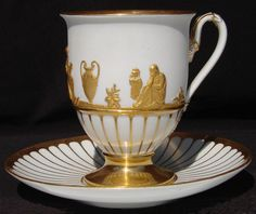 4:00 Tea...Meissen...antique porcelain teacup and saucer with Gold Figures in Relief on White 1814~1824