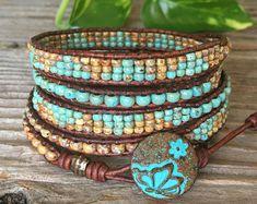 Boho Beaded Wrap Bracelet/ Seed Bead Leather Wrap/ Gift For Her/ Bohemian Leather Bracelet. Beaded Wrap Bracelets, Seed Bead Bracelets, Bracelets For Men, Fashion Bracelets, Beaded Jewelry, Seed Beads, Diy Jewellery, Jewlery, Beaded Leather Wraps