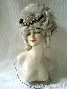 Large Art Deco Elka Austria Boudoir Wax Doll Head w Wig Half Doll Related C1920 | eBay
