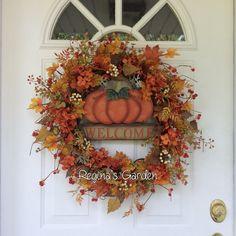FALL Wreath for Door-Fall Wreath-Pumpkin by ReginasGarden on Etsy