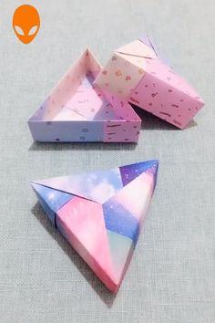 diy box Gift Box Origami For Christmas - DIY Tutorials Videos Diy Origami Box, Origami Gifts, Paper Crafts Origami, Paper Crafting, Origami Box Tutorial, Origami Envelope, Oragami, Diy Crafts Hacks, Diy Crafts For Gifts