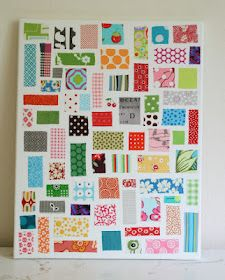crazy mom quilts: ticker tape on canvas  Modge podge + fabric scraps on canvas