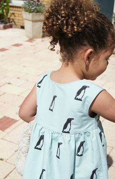 Hand stamped penguin dress by anu*miki