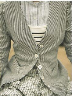 Stripes on stripes on stripes. on stripes. Mode Style, Style Me, Fashion Pattern, Look Fashion, Womens Fashion, Mode Inspiration, Ladies Boutique, Casual, Blazers