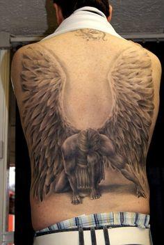 Angel Wing Tattoos for Men On Back | Fallen angel tattoo Design Idea - Tattoo Design Ideas