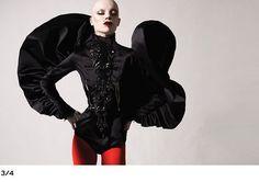 Polly Fey for Ziad Ghanem, mega-ruffle jacket Fall 2009 † #goth #hautegoth #gothic #fashion #ziadghanem #london #pollyfey #bald #female #model #dramatic #dark #hautecouture #gothaesthetics #avantgarde #fashion