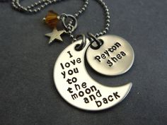 I love you to the moon and back with additional name disc hand stamped stainless steel necklace by ajscustomjewelry on Etsy