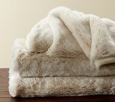 Faux Fur Throw - Ivory #potterybarn