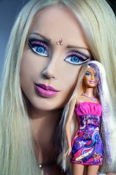 Human Barbie with Barbie (Valeria Lukyanova/Facebook)THIS IS A REAL PERSON- A UKRANIAN MODEL- read article