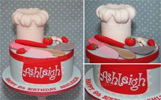 Cooking Party Cake. Children's Chef Cake. With fondant chef's hat and apron, spatula, wooden spoon, knife, strawberries, tomato and mushrooms.
