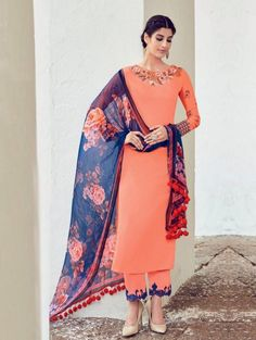Peach Georgette Printed Suit