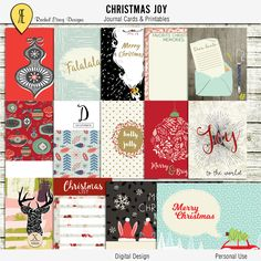 Christmas Joy - Journal Cards - Instant Download - Printable journaling cards for Project Life and digital scrapbooking by Racheletrogdesigns on Etsy