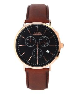 Lachlann Första LF-03 Brown Strap Chronograph, Omega Watch, Watches, Brown, Leather, Accessories, Collection, Black, Style