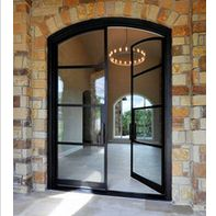 Wholesale modern front door Commercial temper glazed wrought iron french doors f. Best Picture For outdoor french doors For Your Taste You are looking for som Steel Doors And Windows, Arched Doors, Entry Doors, Sliding Doors, Door Entryway, Interior Barn Doors, Exterior Doors, Window Design, Door Design