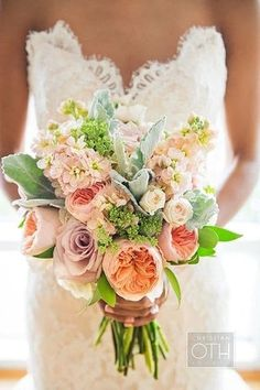 Wedding bouquet, it's gorgeous! Do brides have to predominately use white in their bouquet? Summer Wedding Bouquets, Summer Wedding Colors, Floral Wedding, Summer Flowers, Wedding Dresses, Bouquet Bride, Boquet, Our Wedding, Dream Wedding