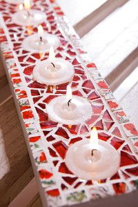 Creative Company | Just Mosaics: Floral tealight candleholder Creative Company, Mosaic Crafts, Mosaics, Tea Lights, Craft Projects, Candle Holders, Candles, Floral, Gifts