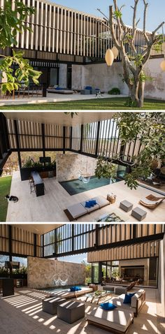 Stepping into this modern house but not technically inside, there's a large open area with a bar, lounge and swimming pool perfect for entertaining.