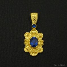 RARE-BYZANTINE-SAPPHIRE-CZ-925-STERLING-SILVER-22K-GOLD-PLATED-GREEK-ART-PENDANT