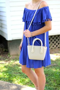 blue tassel off the shoulder dress