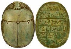 """Egyptian Heart Scarab - Limestone. 18th Dynasty, Circa 1570-1342 B.C. 3-1/2"""" x 2-1/2""""."""