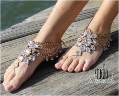 Barefoot sandals, Gypsy Sole, gold, foot jewelry, footless, beach, wedding, hippie, boho | SJ8