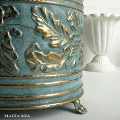 Aqua Chalk Paint on Brass Planter (or a Pencil Caddy) Chalk Paint Projects, Chalk Paint Furniture, Fun Projects, Paint Brass, Brass Planter, Oak Leaves, Dark Wax, Annie Sloan Chalk Paint, Interior Paint