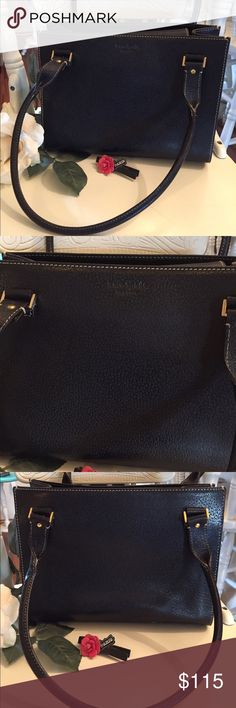 "✨HP 4-5✨Kate Spade New York Shoulder Bag ✨HP 4-5✨🎉SALE🎉Authentic Black leather Kate Spade New York shoulder bag featuring gold-tone hardware, dual rolled shoulder straps, printed woven lining, single zip pocket at interior wall and magnetic snap closure at top flap. Height: 8"" Depth: 4.5"" Shoulder Strap Drop: 9"" Length: 10.75"" Condition: Very Good. Light wear and a few spots on the inside. Designer: Kate Spade New York. Dust bag included. kate spade Bags Shoulder Bags"