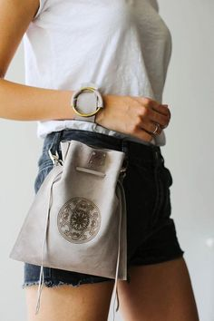 Leather Drawstring Pouch, Gray Waist Bag, Drawstring Bag, Leather Fanny Pack, Leather Mini Bag, Shoulder bag women, Bags with Chain, Art