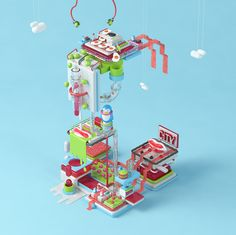 C is for Candy Factory. designed by Cristian M. Connect with them on Dribbble; the global community for designers and creative professionals. Isometric Map, Isometric Design, Low Poly, Art Isométrique, Crea Design, 3d Cinema, Candy Factory, 3d Artwork, Korean Art