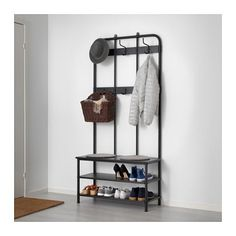Width: 90 cm Depth: 37 cm Height: 193 cm Coat rack with shoe storage bench PINNIG Black £69 For next to the mirror beside the chimney breast