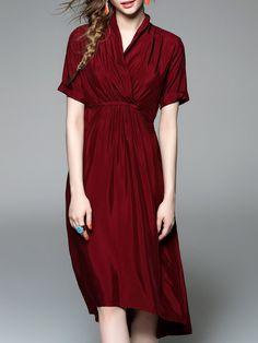 Short Sleeve A-line Simple V Neck Wrap Dress - StyleWe.com