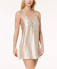 98316b6d4457 Flora by Flora Nikrooz Stella Charmeuse Embroidered-Neckline Chemise